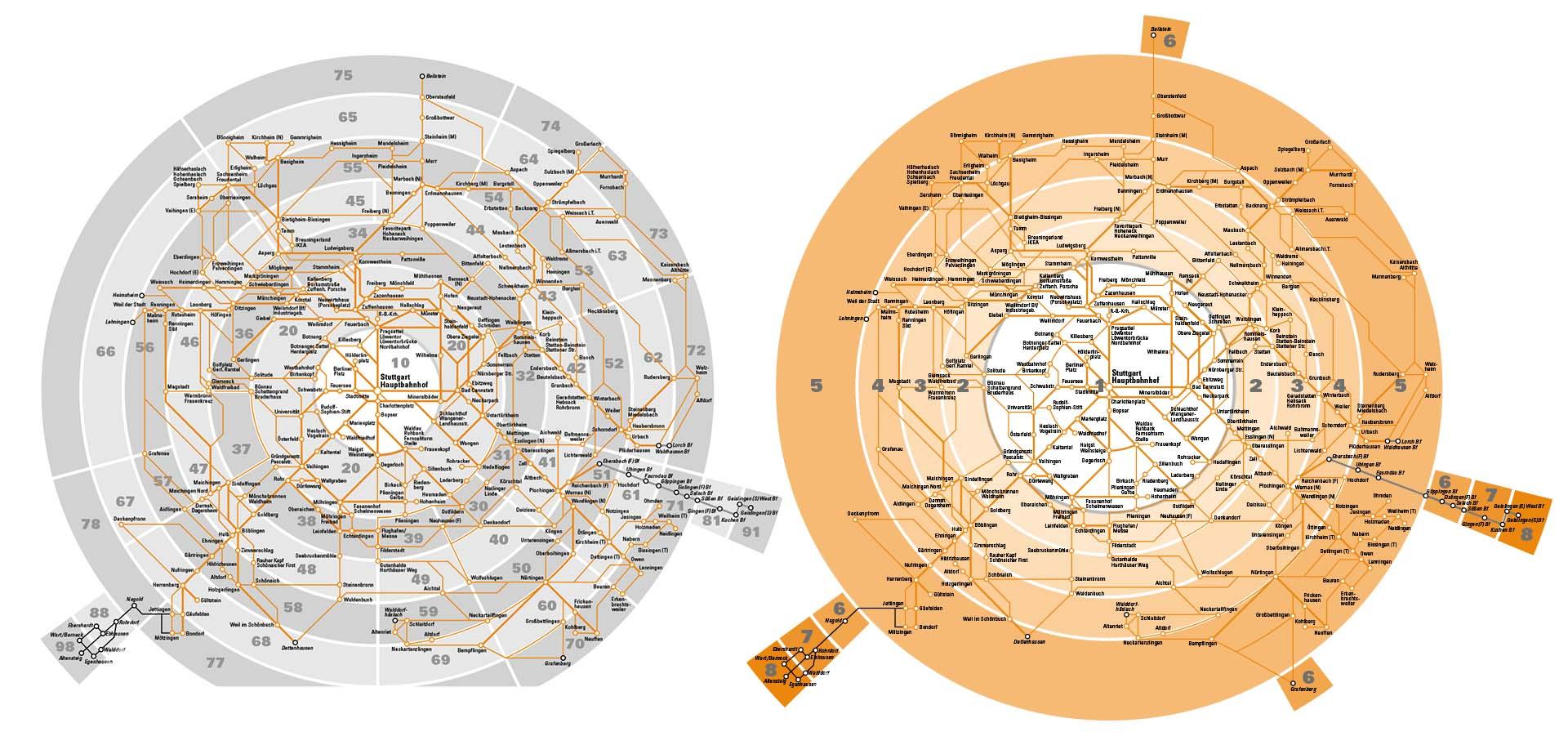 Vergleich zwischen dem Tarifzonenplan vor und nach der Tarifreform