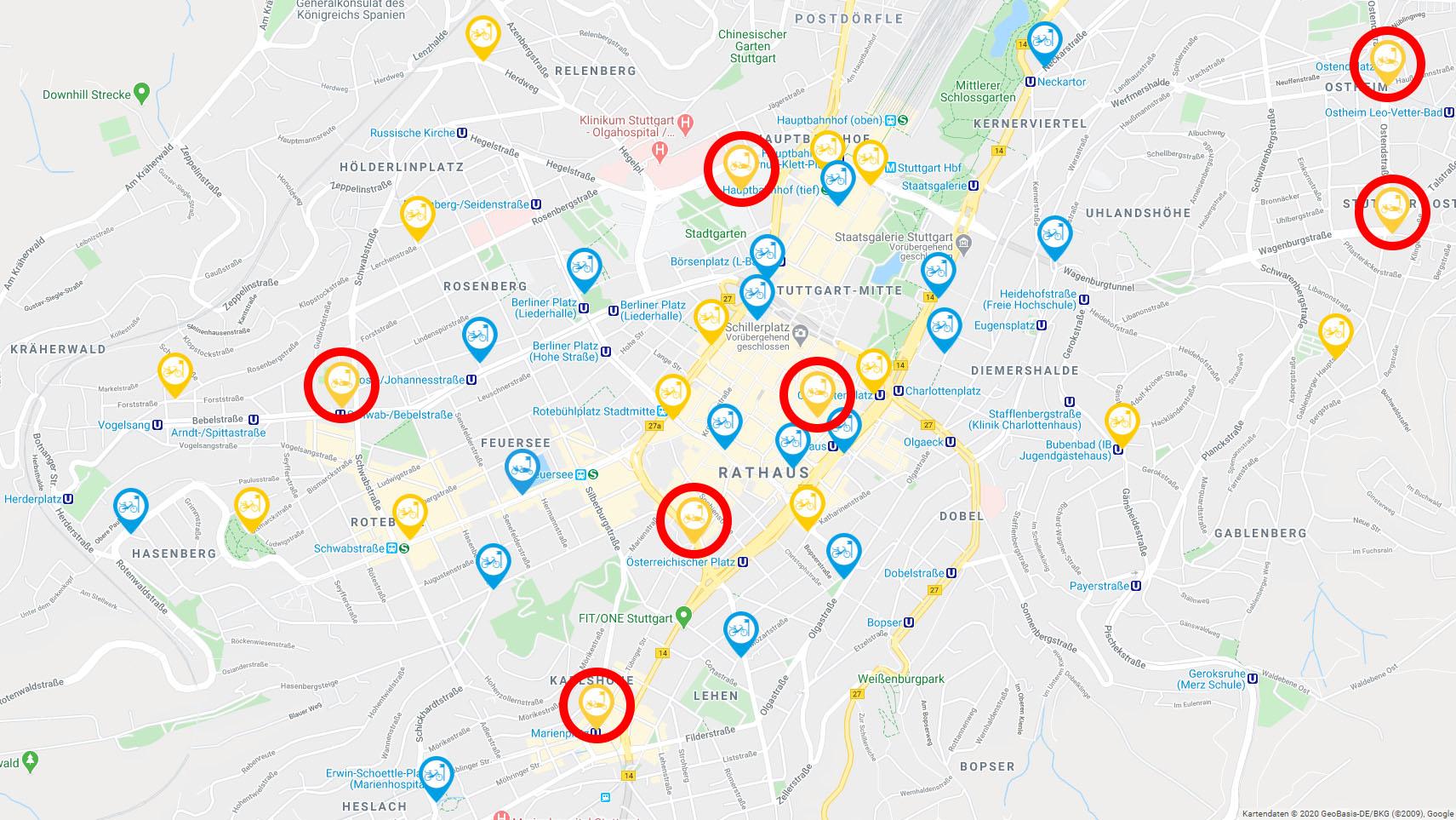 Karte der Lastenräder von Regiorad Stuttgart